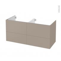 Meuble de salle de bains - Sous vasque double - GINKO Taupe - 4 tiroirs - Côtés décors - L120 x H57 x P50 cm