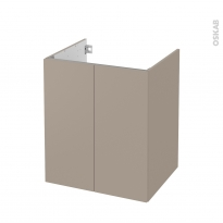 Meuble de salle de bains - Sous vasque - GINKO Taupe - 2 portes - Côtés décors - L60 x H70 x P50 cm