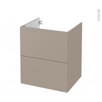 Meuble de salle de bains - Sous vasque - GINKO Taupe - 2 tiroirs - Côtés décors - L60 x H70 x P50 cm