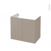 Meuble de salle de bains - Sous vasque - GINKO Taupe - 2 portes - Côtés décors - L80 x H70 x P50 cm