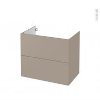 Meuble de salle de bains - Sous vasque - GINKO Taupe - 2 tiroirs - Côtés décors - L80 x H70 x P50 cm