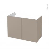 Meuble de salle de bains - Sous vasque - GINKO Taupe - 2 portes - Côtés décors - L100 x H70 x P50 cm