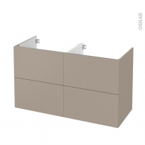 Meuble de salle de bains - Sous vasque double - GINKO Taupe - 4 tiroirs - Côtés décors - L120 x H70 x P50 cm