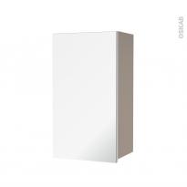 Armoire de salle de bains - Rangement haut - GINKO Taupe - 1 porte miroir - Côtés décors - L40 x H70 x P27 cm