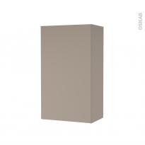 Armoire de salle de bains - Rangement haut - GINKO Taupe - 1 porte - Côtés décors - L40 x H70 x P27 cm