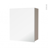 Armoire de salle de bains - Rangement haut - GINKO Taupe - 1 porte miroir - Côtés décors - L60 x H70 x P27 cm