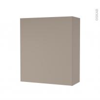 Armoire de salle de bains - Rangement haut - GINKO Taupe - 1 porte - Côtés décors - L60 x H70 x P27 cm