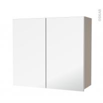 Armoire de salle de bains - Rangement haut - GINKO Taupe - 2 portes miroir - Côtés décors - L80 x H70 x P27 cm