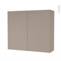 Armoire de salle de bains - Rangement haut - GINKO Taupe - 2 portes - Côtés décors - L80 x H70 x P27 cm
