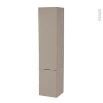 Colonne de salle de bains - 2 portes - GINKO Taupe - Côtés décors - Version B - L40 x H182 x P40 cm