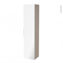 Colonne de salle de bains - 1 porte miroir - GINKO Taupe - Côtés décors - L40 x H182 x P40 cm