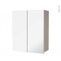 Armoire de salle de bains - Rangement haut - GINKO Taupe - 2 portes miroir - Côtés décors - L60 x H70  xP27 cm