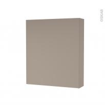 Armoire de toilette - Rangement haut - GINKO Taupe - 1 porte - Côtés décors - L60 x H70 x P17 cm