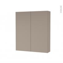 Armoire de toilette - Rangement haut - GINKO Taupe - 2 portes - Côtés décors - L60 x H70 x P17 cm