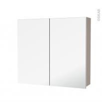 Armoire de toilette - Rangement haut - GINKO Taupe - 2 portes miroir - Côtés décors - L80 x H70 x P17 cm