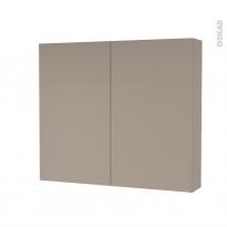 Armoire de toilette - Rangement haut - GINKO Taupe - 2 portes - Côtés décors - L80 x H70 x P17 cm