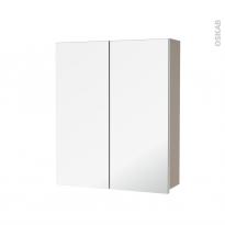 Armoire de toilette - Rangement haut - GINKO Taupe - 2 portes miroir - Côtés décors - L60 x H70 x P17 cm