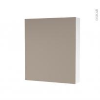 Armoire de toilette - Rangement haut - GINKO Taupe - 1 porte - Côtés blancs - L60 x H70 x P17 cm