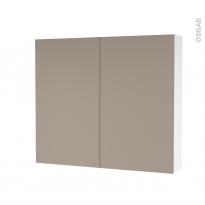 Armoire de toilette - Rangement haut - GINKO Taupe - 2 portes - Côtés blancs - L80 x H70 x P17 cm