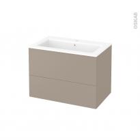 Meuble de salle de bains - Plan vasque NAJA - GINKO Taupe - 2 tiroirs - Côtés décors - L80,5 x H58,5 x P50,5 cm