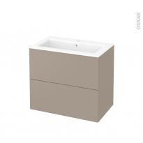 Meuble de salle de bains - Plan vasque NAJA - GINKO Taupe - 2 tiroirs - Côtés décors - L80,5 x H71,5 x P50,5 cm