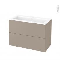 Meuble de salle de bains - Plan vasque NAJA - GINKO Taupe - 2 tiroirs - Côtés décors - L100,5 x H71,5 x P50,5 cm