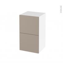 Meuble de salle de bains - Rangement bas - GINKO Taupe - 2 tiroirs - L40 x H70 x P37 cm