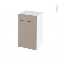 Meuble de salle de bains - Rangement bas - GINKO Taupe - 1 porte 1 tiroir - L40 x H70 x P37 cm