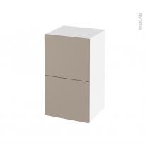 Meuble de salle de bains - Rangement bas - GINKO Taupe - 2 tiroirs 1 tiroir à l'anglaise - L40 x H70 x P37 cm