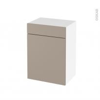 Meuble de salle de bains - Rangement bas - GINKO Taupe - 1 porte 1 tiroir - L50 x H70 x P37 cm