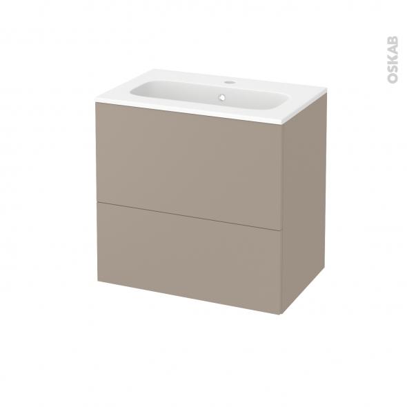 Meuble de salle de bains - Plan vasque REZO - GINKO Taupe - 2 tiroirs - Côtés décors - L60,5 x H58,5 x P40,5 cm