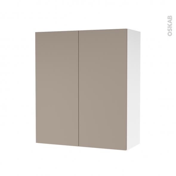 Armoire de salle de bains - Rangement haut - GINKO Taupe - 2 portes - Côtés blancs - L60 x H70 x P27 cm