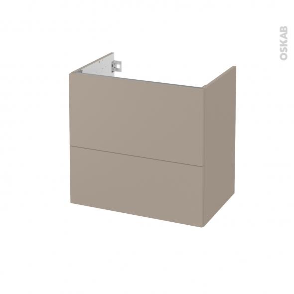 Meuble de salle de bains - Sous vasque - GINKO Taupe - 2 tiroirs - Côtés décors - L60 x H57 x P40 cm