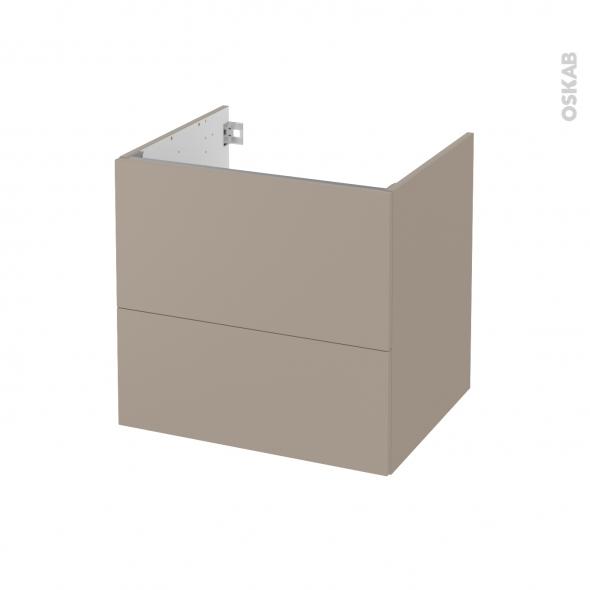 Meuble de salle de bains - Sous vasque - GINKO Taupe - 2 tiroirs - Côtés décors - L60 x H57 x P50 cm
