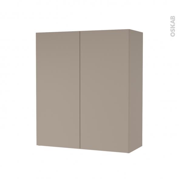 Armoire de salle de bains - Rangement haut - GINKO Taupe - 2 portes - Côtés décors - L60 x H70 x P27 cm