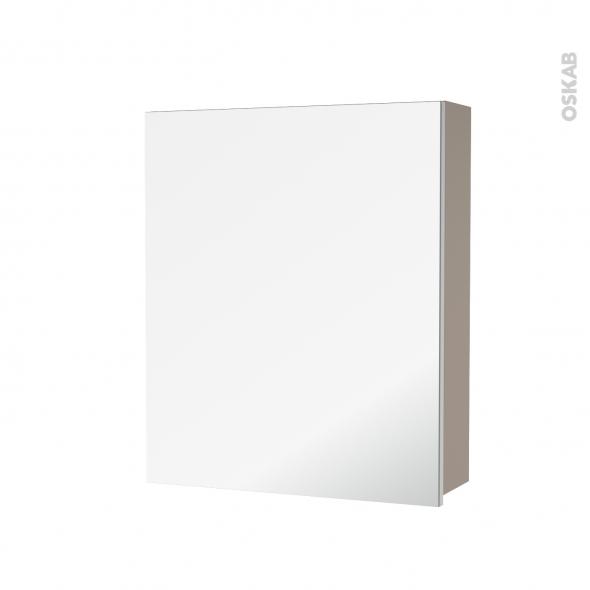 Armoire de toilette - Rangement haut - GINKO Taupe - 1 porte miroir - Côtés décors - L60 x H70 x P17 cm