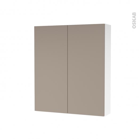 Armoire de toilette - Rangement haut - GINKO Taupe - 2 portes - Côtés blancs - L60 x H70 x P17 cm