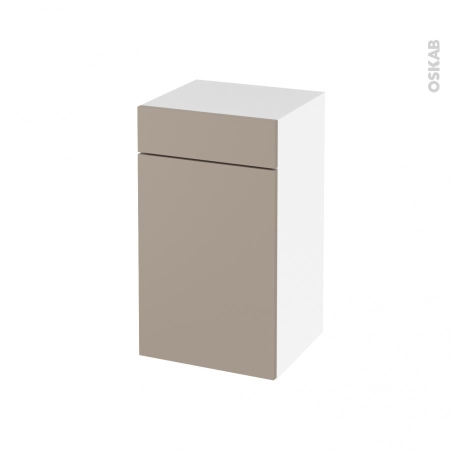 Meuble de salle de bains Rangement bas GINKO Taupe 1 porte 1 tiroir L40 x H70 x P37 cm - Oskab