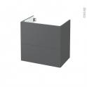 Meuble de salle de bains - Sous vasque - HELIA Gris - 2 tiroirs - Côtés décors - L60 x H57 x P40 cm