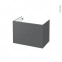Meuble de salle de bains - Sous vasque - HELIA Gris - 2 tiroirs - Côtés décors - L80 x H57 x P50 cm