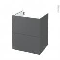 Meuble de salle de bains - Sous vasque - HELIA Gris - 2 tiroirs - Côtés décors - L60 x H70 x P50 cm