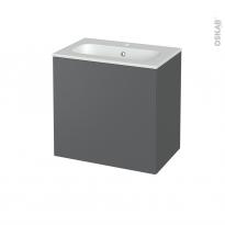 Meuble de salle de bains - Plan vasque REZO - HELIA Gris - 1 porte - Côtés décors - L60,5 x H58,5 x P40,5 cm