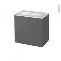 Meuble de salle de bains - Plan vasque REZO - HELIA Gris - 2 tiroirs - Côtés décors - L60,5 x H58,5 x P40,5 cm