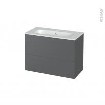 Meuble de salle de bains - Plan vasque REZO - HELIA Gris - 2 tiroirs - Côtés décors - L80.5 x H58.5 x P40.5 cm