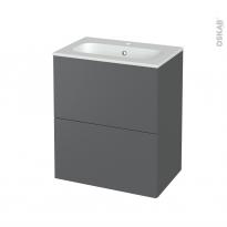 Meuble de salle de bains - Plan vasque REZO - HELIA Gris - 2 tiroirs - Côtés décors - L60,5 x H71,5 x P40,5 cm