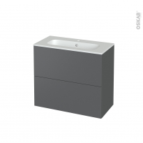 Meuble de salle de bains - Plan vasque REZO - HELIA Gris - 2 tiroirs - Côtés décors - L80.5 x H71.5 x P40.5 cm