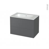 Meuble de salle de bains - Plan vasque REZO - HELIA Gris - 2 tiroirs - Côtés décors - L80.5 x H58.5 x P50.5 cm