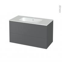 Meuble de salle de bains - Plan vasque REZO - HELIA Gris - 2 tiroirs - Côtés décors - L100,5 x H58,5 x P50,5 cm