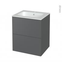Meuble de salle de bains - Plan vasque REZO - HELIA Gris - 2 tiroirs - Côtés décors - L60,5 x H71,5 x P50,5 cm