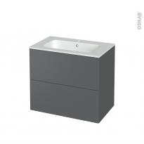 Meuble de salle de bains - Plan vasque REZO - HELIA Gris - 2 tiroirs - Côtés décors - L80.5 x H71.5 x P50.5 cm
